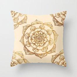 Gold & Cream Mandalas Throw Pillow