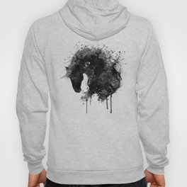 Black and White Horse Head Watercolor Silhouette Hoody