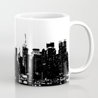 wwe Mugs featuring New York black and white high quality art print by eARTh