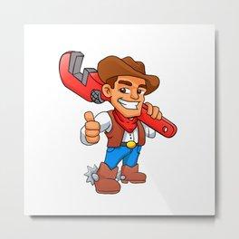 plumber cowboy Metal Print