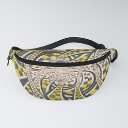 Liquid Taxi Cab, a Yellow Checkered Retro Fractal Fanny Pack