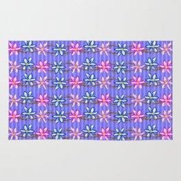 Violet Stripes with Flowers Rug