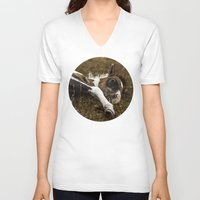 pony V-neck T-shirts featuring Dartmoor Pony  by Goncalo