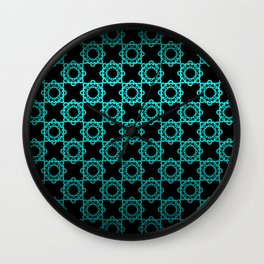 Retro. Black and turquoise satin ornament . Wall Clock