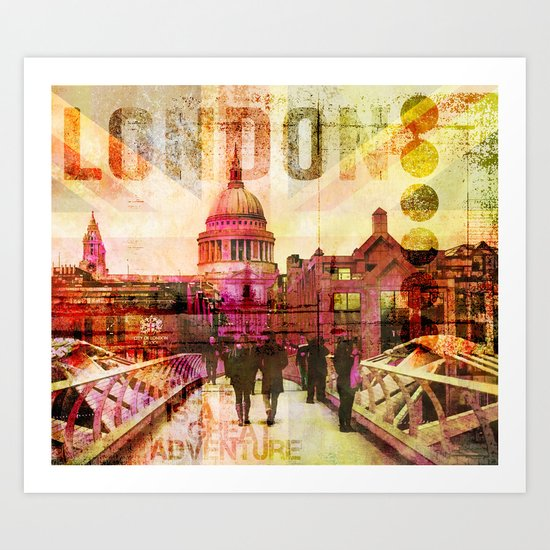 London St. Pauls Cathedral modern illustration typography Art Print