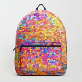 Mosaic-stained glass, abstract, vibrant, colourful Backpack