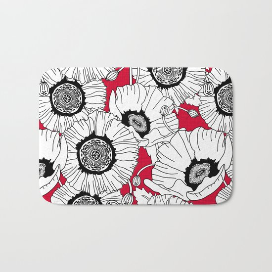 Black and White Poppies in a Red Vase Bath Mat