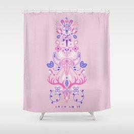 La Vie & La Mort – Pink & Periwinkle Shower Curtain