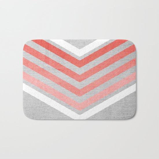 Coral Gradient Chevron on Silver Grey Wood Bath Mat