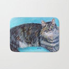 Munchkin tabby cat portrait Bath Mat