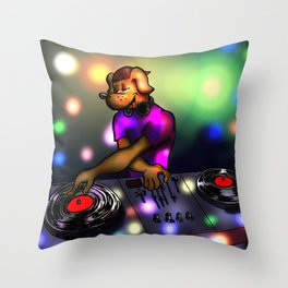 DJ Doggie scratching and playing records Throw Pillow