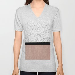 Pink marble and dots Unisex V-Neck