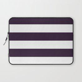Horizontal Stripes - White and Dark Purple Laptop Sleeve