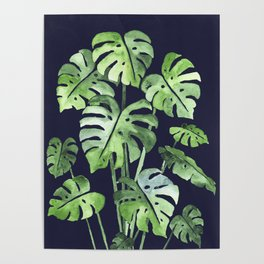 Delicate Monstera Blue #society6 Poster