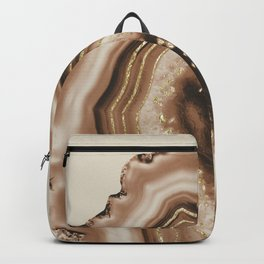 Soft Brown Agate Gold Foil Glam #1 #gem #decor #art #society6 Backpack