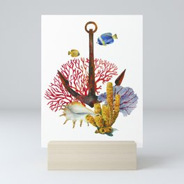 Anchor and corals Mini Art Print