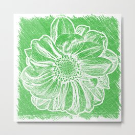 White Flower On Tech Green Crayon Metal Print