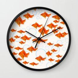 ABSTRACT GOLD FISH SWIMMING ART  DESIGN Wall Clock