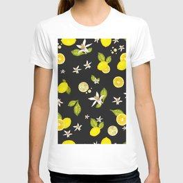 Lemon, #lemon slice and leaves pattern black background #artprint T-shirt