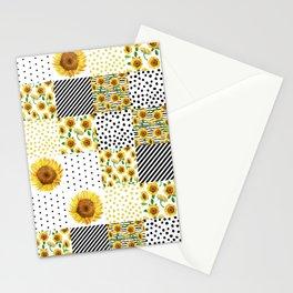 Sunflower Quilt - patchwork, boho, summer, black and white, feminine, floral,  Stationery Cards