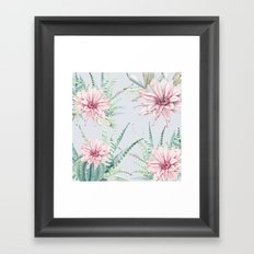 Cactus Pattern 2 Light Blue #society6 #buyart Framed Art Print