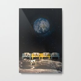 The Cows & The Queue on the Moon Metal Print