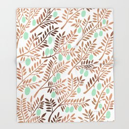 Olive Branches – Rose Gold & Mint Throw Blanket