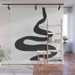 Black And White Minimalist Mid Century Abstract Ink Art Genie Aladdin Smoke Jin Lamp Minimal Smoke Wall Mural