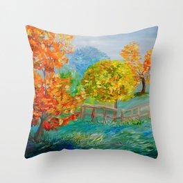Blue Autumn Throw Pillow