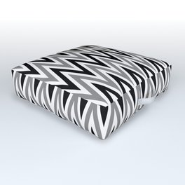 Zigzag - black and white Outdoor Floor Cushion