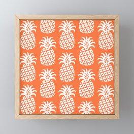 Retro Mid Century Modern Pineapple Pattern Orange 2 Framed Mini Art Print