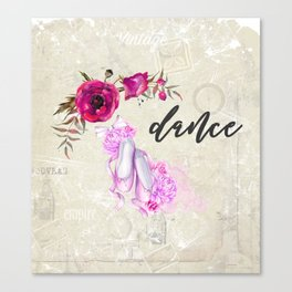 Dance with Ballet Shoes with a Floral Poppy Frame Canvas Print