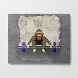 Sock Monkey Bodybuilder Metal Print