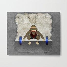Sock Monkey Bodybuilder Metal Print