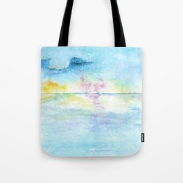 Blue Sky Watercolor Illustration Tote Bag