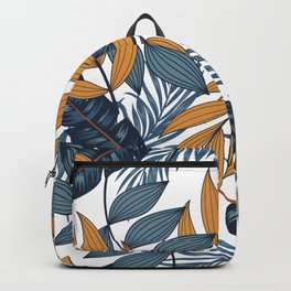 Tropical Pattern With Bright Leaves Plants Light Background Backpack