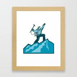 Mountain Climber Summit Retro Framed Art Print