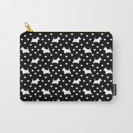 White Scottish Terriers (Scottie Dogs) & Hearts on Black Background Carry-All Pouch