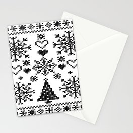 Christmas Cross Stitch Embroidery Sampler Black And White Stationery Cards