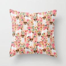 Jack Russell Terrier florals cute pastel flowers gardener with dog pet lover dog art pet portraits  Throw Pillow