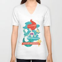 little mermaid V-neck T-shirts featuring Little Mermaid by LindseyCowley