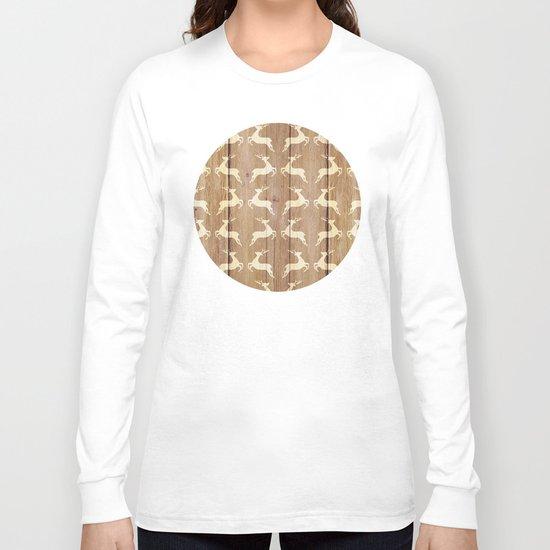 Christmas Pattern on Wood 02 Long Sleeve T-shirt