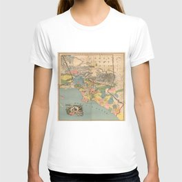 Vintage Map of Los Angeles County CA (1888) T-shirt