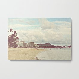 Retro Hawaii Diamond Head Metal Print