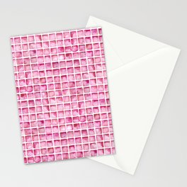 Pink Watercolor Tile Pattern Stationery Cards