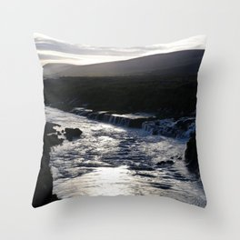 Waterfall at sundown Throw Pillow