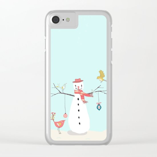 Winter fun- Funny snowman and birds - Illustration Clear iPhone Case