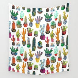 Funky Rainbow Cactus Pattern Wall Tapestry