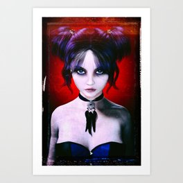 Moody Goth Girl Portrait Art Print