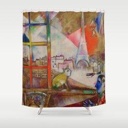 'Paris Through the Window' by Marc Chagall Shower Curtain